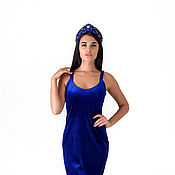 Dresses handmade. Livemaster - original item Short velvet dress in a dark blue color on the straps.. Handmade.