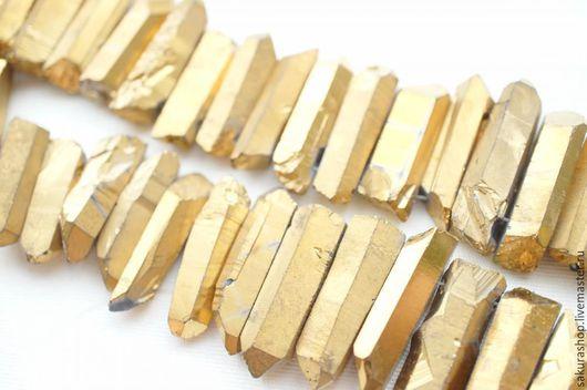 Для украшений ручной работы. Ярмарка Мастеров - ручная работа. Купить Кварц кристалл тонированный золото 21х7 мм. Handmade.