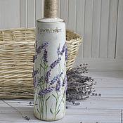 Посуда ручной работы. Ярмарка Мастеров - ручная работа Бутылка декоративная 3D декупаж Лавандовое поле. Handmade.