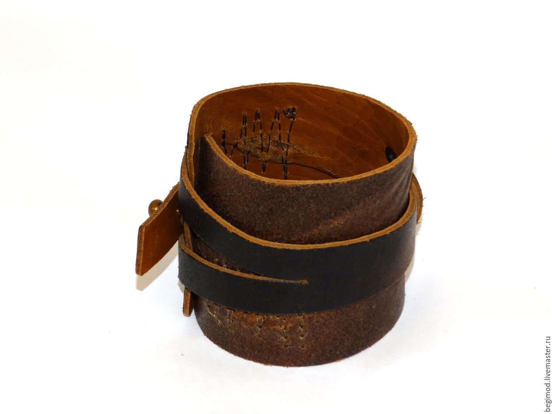 Браслет кожаный коричневый Vintage unisex