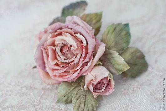 """Заколки ручной работы. Ярмарка Мастеров - ручная работа. Купить Цветы из шелка. """"Чайная роза"""". Шелковые цветы. Свадебные украшения.. Handmade."""