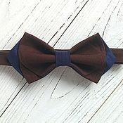 Галстуки ручной работы. Ярмарка Мастеров - ручная работа Галстук-бабочка коричневый с синим. Handmade.