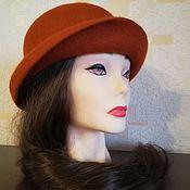 Аксессуары handmade. Livemaster - original item Hat felted Terracotta color. Handmade.