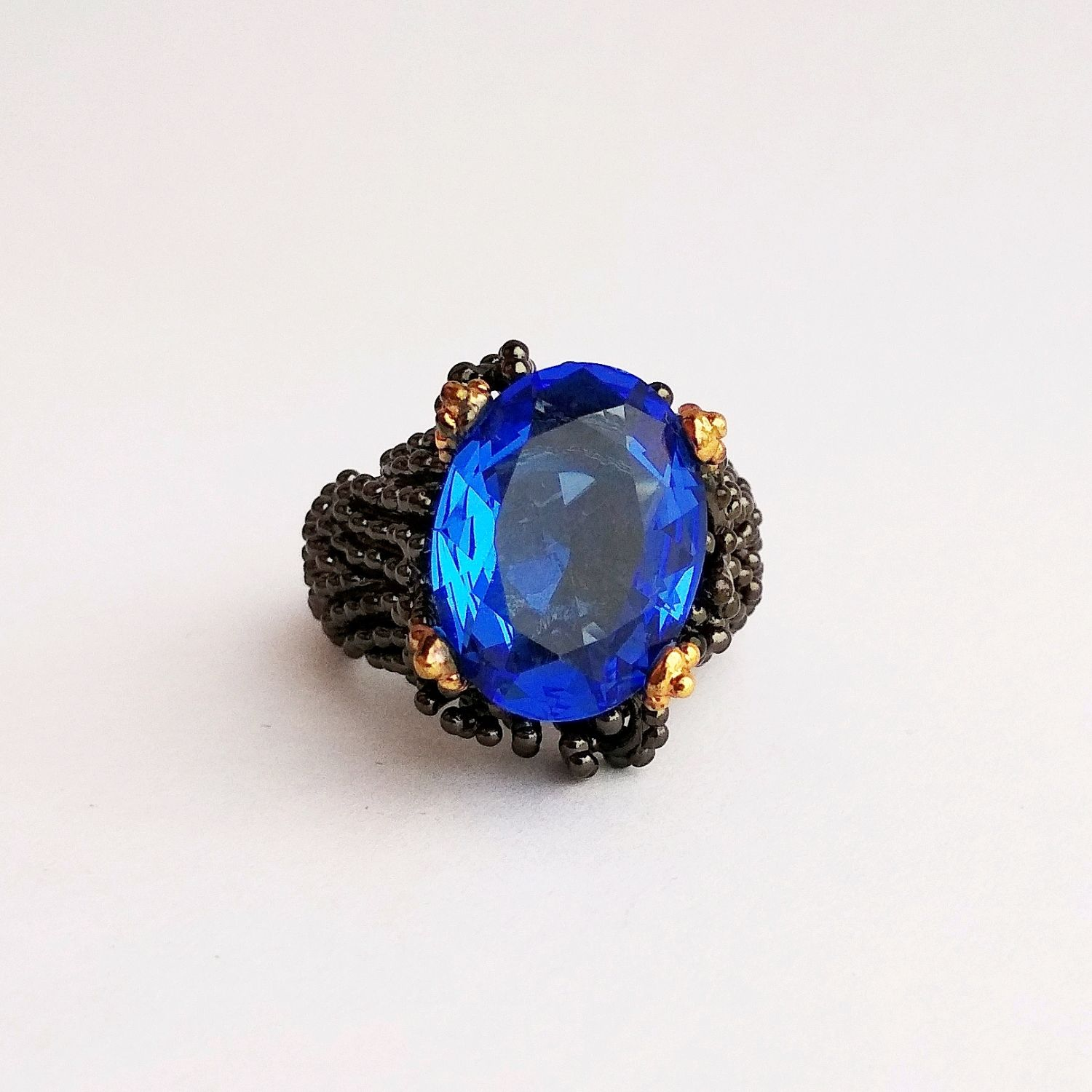 16,7R. Silver ring with blue Topaz, black and blue, Rings, Kaluga,  Фото №1