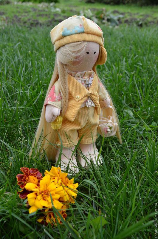 Коллекционные куклы ручной работы. Ярмарка Мастеров - ручная работа. Купить Интерьерная куколка. Handmade. Желтый, большеножка, подарок подруге