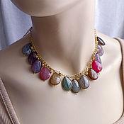 handmade. Livemaster - original item Necklace with multicolored agate Natural stones Gilding. Handmade.