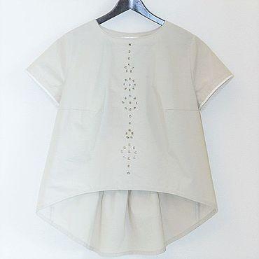 Одежда ручной работы. Ярмарка Мастеров - ручная работа Блузка Марита, хлопок, люверсы. Handmade.