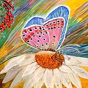 Картины ручной работы. Ярмарка Мастеров - ручная работа Бабочка на цветке. Handmade.