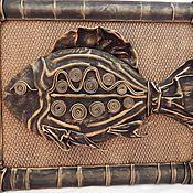 Картины и панно ручной работы. Ярмарка Мастеров - ручная работа Картина из кожи Золотая рыбка. Объемная картина. Handmade.
