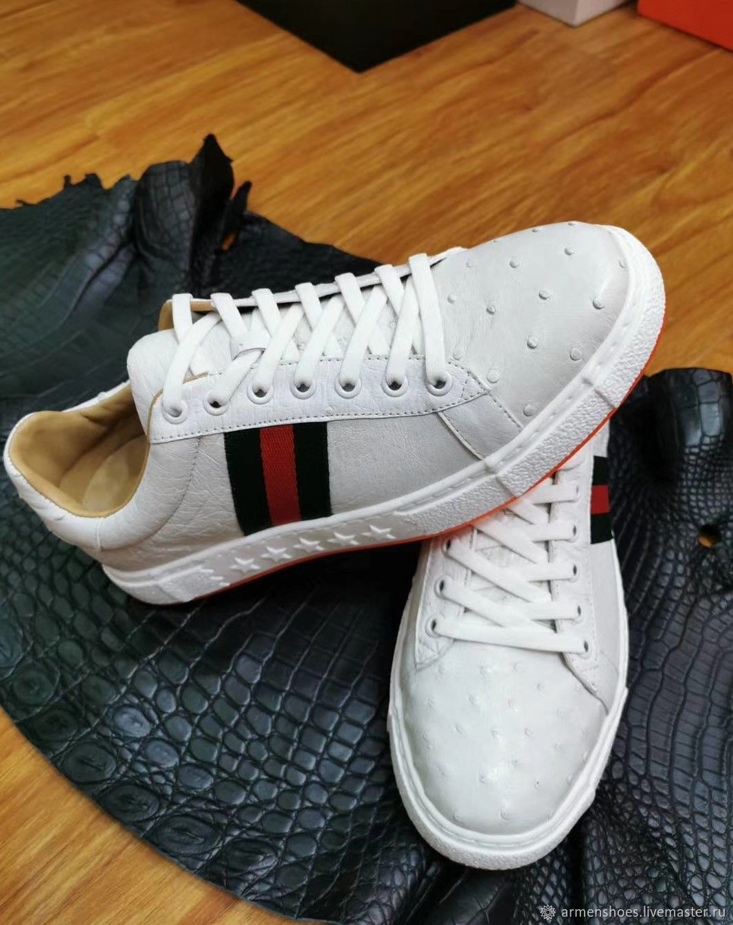 Sneakers made of genuine ostrich leather, in white color!, Training shoes, Tosno,  Фото №1
