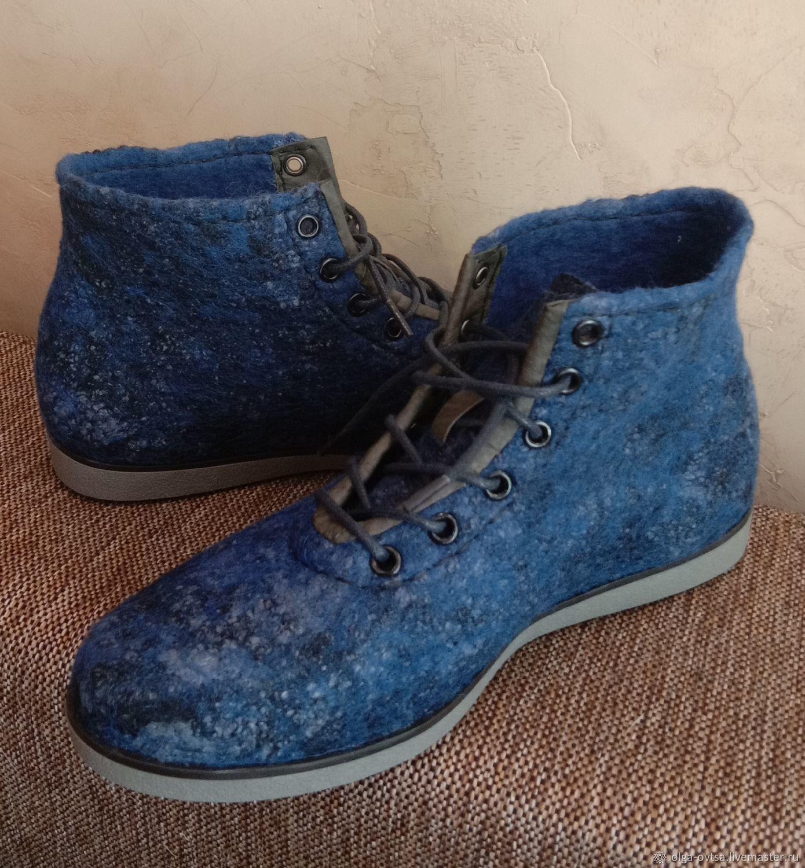 Валяные ботинки Сумерки с укреплением кожей, Ботинки, Черноголовка,  Фото №1