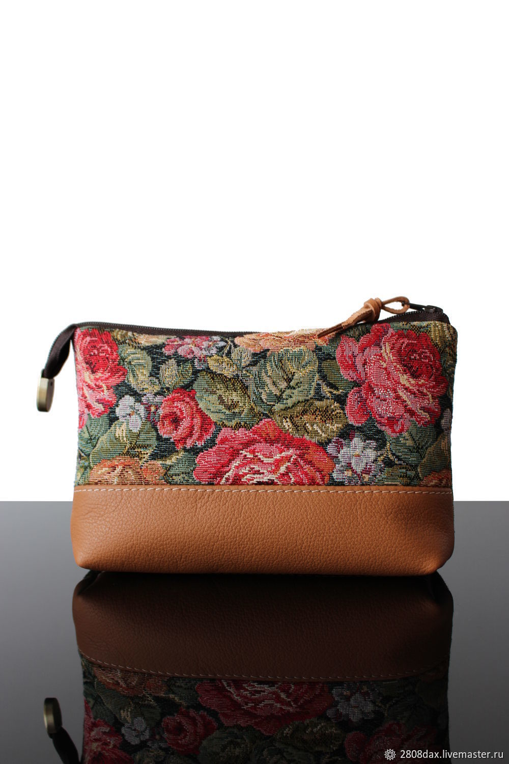 Cosmetic bag made of tapestry and leather, Vintage Roses, Beauticians, Bordeaux,  Фото №1