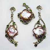 Украшения handmade. Livemaster - original item Set 925 silver with purple Baroque pearls and chrome diopsids. Handmade.