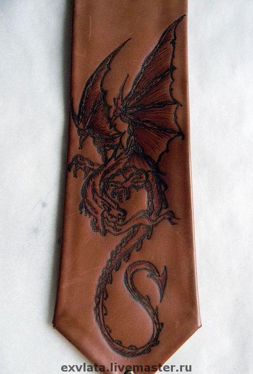 """Галстуки, бабочки ручной работы. Ярмарка Мастеров - ручная работа. Купить Галстук кожаный   """"Дракон"""". Handmade. Галстук, натуральная кожа"""