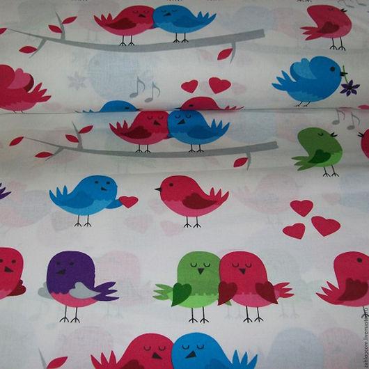 Шитье ручной работы. Ярмарка Мастеров - ручная работа. Купить Хлопок Птички красные (Польша). Handmade. Ярко-красный, ткани