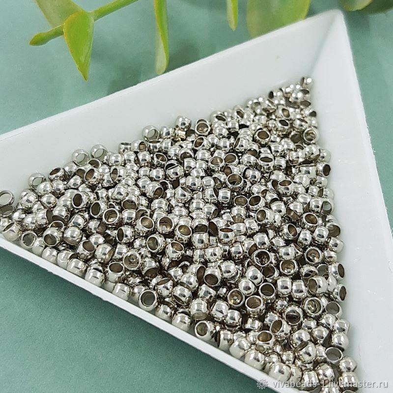 100 PCs. Crimping beads crimps 2.5x1.5. 5643.  mm color platinum (), Accessories4, Voronezh,  Фото №1