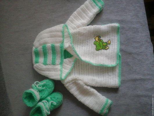 Кофты и свитера ручной работы. Ярмарка Мастеров - ручная работа. Купить комплект для малыша. Handmade. Комбинированный, пинетки, кофта для мальчика