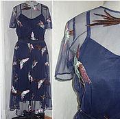 """Одежда ручной работы. Ярмарка Мастеров - ручная работа Платье """"Птицы""""из сетки с вышивкой в стиле Valentino. Handmade."""