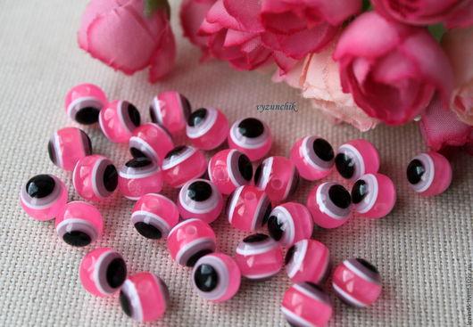 Куклы и игрушки ручной работы. Ярмарка Мастеров - ручная работа. Купить Бусины-глазки 10 мм. Handmade. Розовый