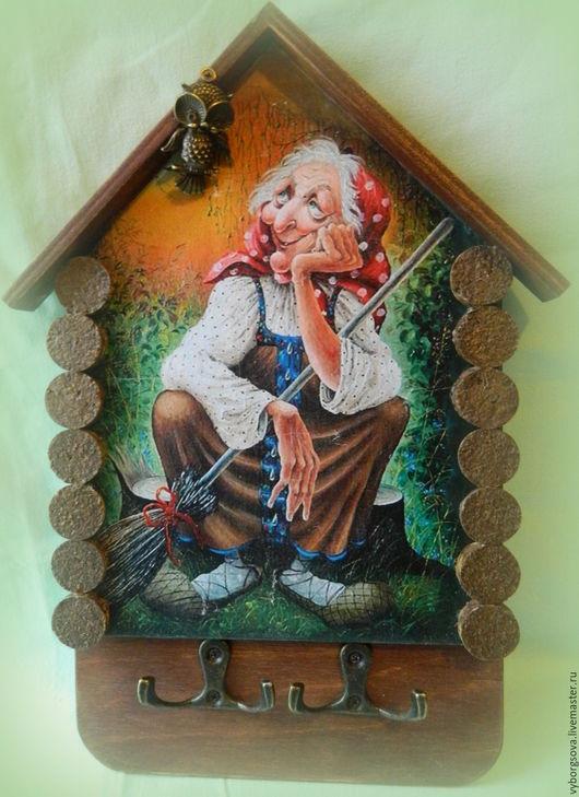 """Прихожая ручной работы. Ярмарка Мастеров - ручная работа. Купить Ключница """" Баба - Яга отдыхает """". Handmade."""
