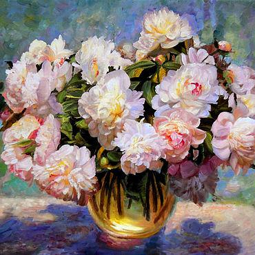 Картины и панно. Ярмарка Мастеров - ручная работа Картины: Пионы в вазе. Handmade.