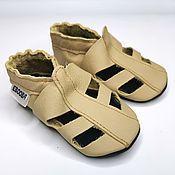 Одежда детская handmade. Livemaster - original item Beige Baby Shoes, Soft Sole Baby Shoes, Leather Baby Shoes Sandals. Handmade.