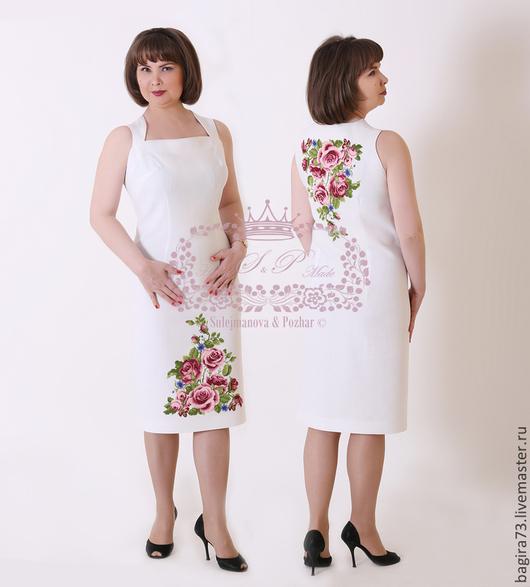 """Платья ручной работы. Ярмарка Мастеров - ручная работа. Купить """"Розы"""". Handmade. Белый, платье на выпускной, платье на праздник"""