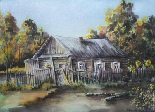 Акварель на шёлке, пейзаж, деревня, природа,картина в подарок, автор Вячеслав Захаров.