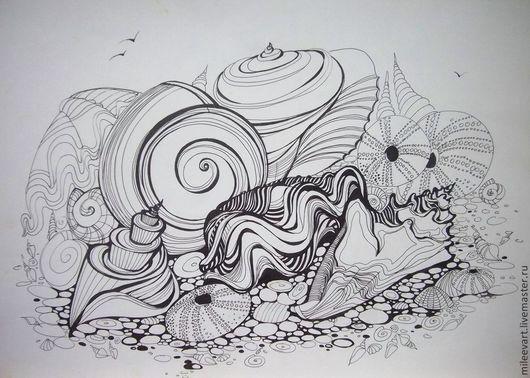 Натюрморт ручной работы. Ярмарка Мастеров - ручная работа. Купить Продано.Ракушки. Графика. (авторская работа). Handmade. Чёрно-белый