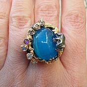 Украшения handmade. Livemaster - original item Silver ring with natural blue cat`s eye, size 18.. Handmade.