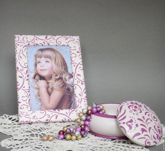 Шкатулка и рамка для фото `Подарок доченьке`. Украшения и аксессуары ручной работы от Сороки.
