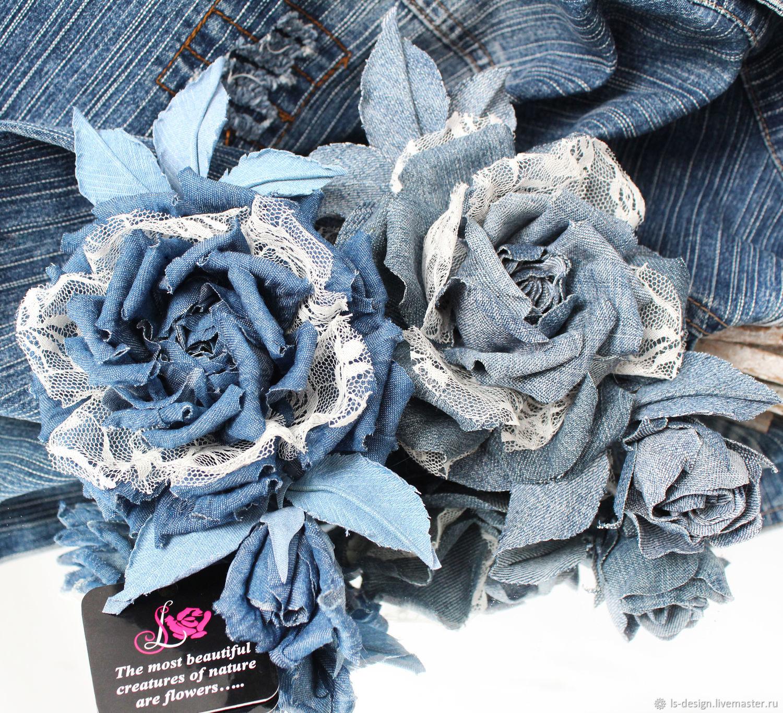Джинсовая роза, Брошь-булавка, Киев,  Фото №1