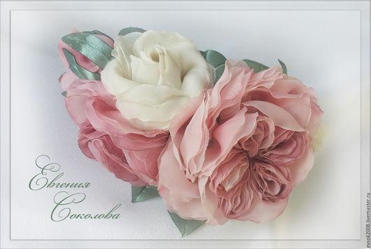 Диадемы, обручи ручной работы. Ярмарка Мастеров - ручная работа. Купить Ободок с розами Розовый букет. Handmade. Бледно-розовый