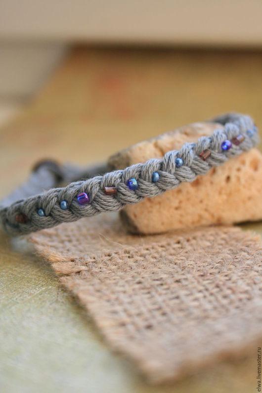 Браслеты ручной работы. Ярмарка Мастеров - ручная работа. Купить Бохо браслет плетеный Косичка серо-голубой. Handmade. Голубой