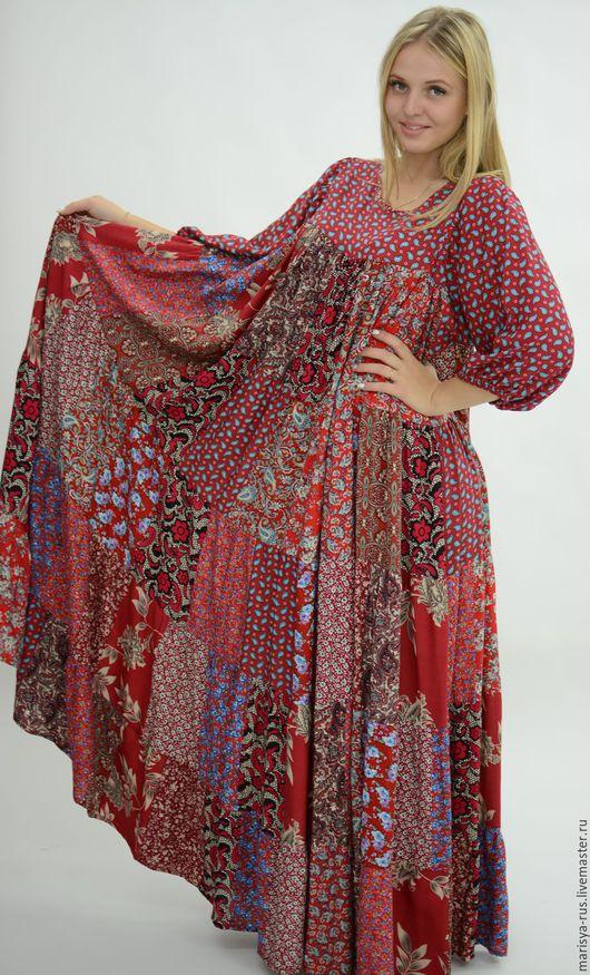 """Платья ручной работы. Ярмарка Мастеров - ручная работа. Купить Лоскутное платье """"Красный сарафан"""". Handmade. Ярко-красный"""