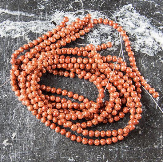 Для украшений ручной работы. Ярмарка Мастеров - ручная работа. Купить Авантюрин коричневый, нити из бусин-шариков. Handmade. Бусины