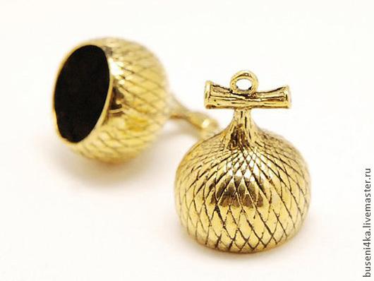 Для украшений ручной работы. Ярмарка Мастеров - ручная работа. Купить Шапочка-подвеска Желудь №2, античное золото (1шт). Handmade.