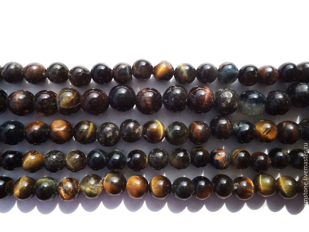 Black Tiger Eye Smooth Round (Quality AA) / TIGE-001, Beads1, Moscow,  Фото №1