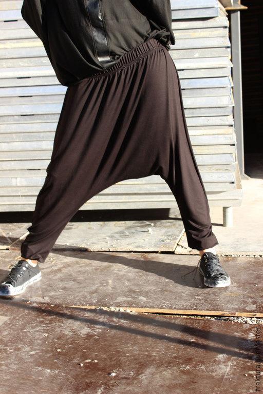 Брюки, шорты ручной работы. Ярмарка Мастеров - ручная работа. Купить Свободные брюки P0006. Handmade. Черный, брюки летние