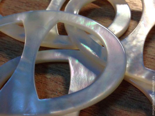 """Для украшений ручной работы. Ярмарка Мастеров - ручная работа. Купить Кольцо """"Жемчужный овал""""  для платка из перламутра (2 размера).. Handmade."""