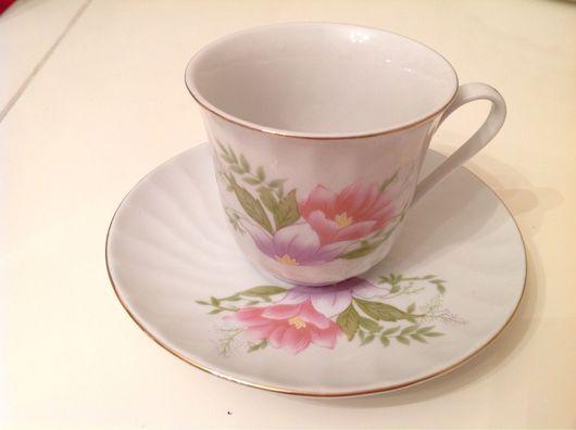 Бокалы, стаканы ручной работы. Ярмарка Мастеров - ручная работа. Купить Чайная пара. Красивый, нежный цветочный декор.. Handmade.