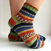 Работы для детей, ручной работы. Ярмарка Мастеров - ручная работа р.31 Детские шерстяные носки - арт. Турция синий зеленый коричневый. Handmade.