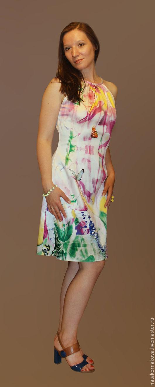 """Платья ручной работы. Ярмарка Мастеров - ручная работа. Купить Платье """"БАБОЧКА"""". Handmade. Разноцветный, принт, короткое платье, выпускной"""