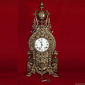 Старинные антикварные большие каминные часы. Бронза. Франция. Клеймо.