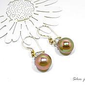 Украшения handmade. Livemaster - original item Earrings silver with pearls Majorca bronze color. Handmade.