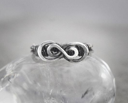 """Кольца ручной работы. Ярмарка Мастеров - ручная работа. Купить Серебряное кольцо """"Двойная бесконечность"""" на фалангу или палец ноги. Handmade."""