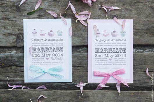 Свадебные открытки ручной работы. Ярмарка Мастеров - ручная работа. Купить Cupcakes. Handmade. Бледно-розовый, пастельные тона, пастель