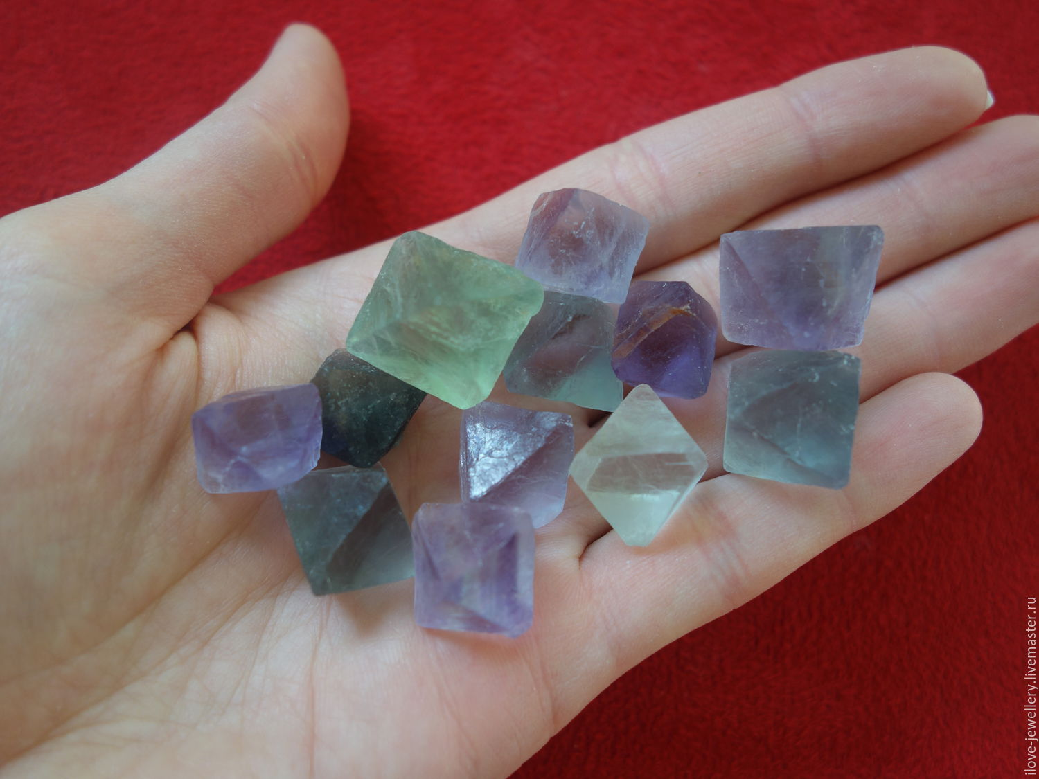 Lot of 12 natural fluorites in the form of octahedrons, Beads1, Moscow,  Фото №1