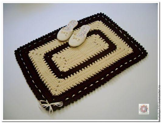 Текстиль, ковры ручной работы. Ярмарка Мастеров - ручная работа. Купить Коврик половик ручной работы вязаный из шнура Разноцветный. Handmade.