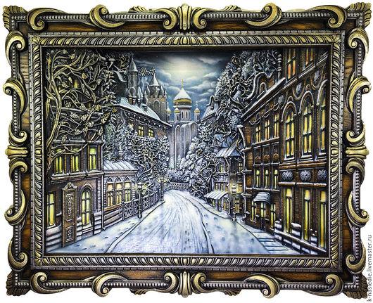 Город ручной работы. Ярмарка Мастеров - ручная работа. Купить Картина Город N... Зима (панно, массив дерева). Handmade.